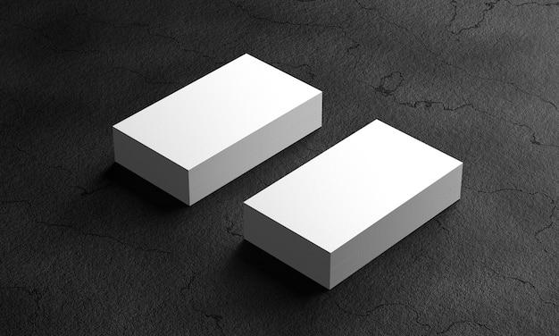 Mocap two packs of business cards. business card on black background. 3d render.