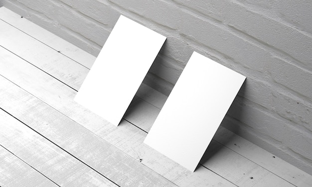 Mocap. two white business cards on a wooden background. 3d render.