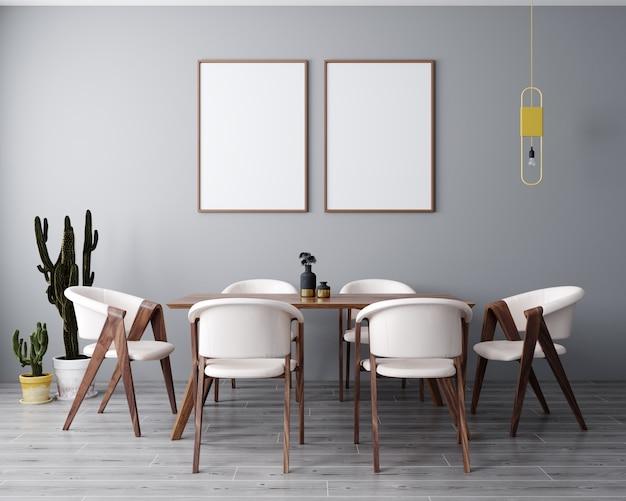 현대, 밝은 인테리어 배경, 거실, 스칸디나비아 스타일, 3d 렌더링, 3d 일러스트에서 2 포스터 프레임을 조롱