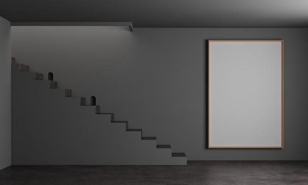 モダンなインテリアの背景にアームチェアと階段と白いドアをモックアップ
