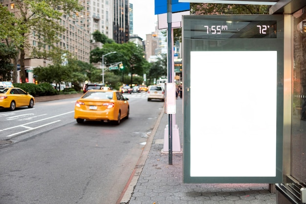 Mock-up billboard in bus stop