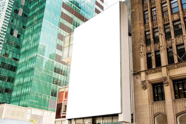 Mock-up billboard on a city building