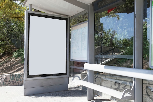 Mock up billboard light box at bus shelter