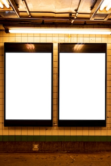 Mock-up billboards in a metro station