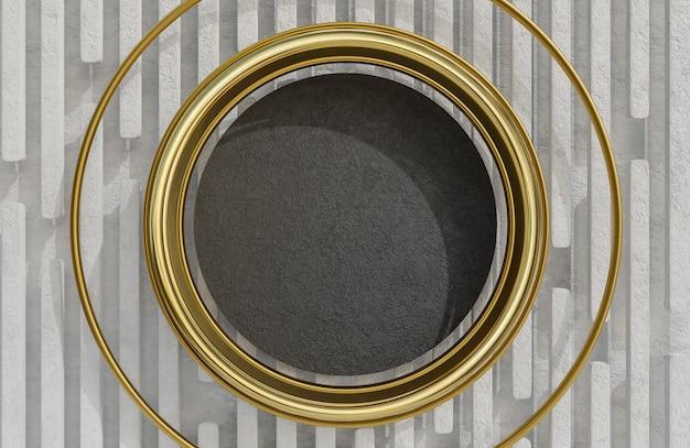 白い石の壁の背景に黒い石のプレートと黄金のアーチをモックアップします。、3dモデルとイラスト。
