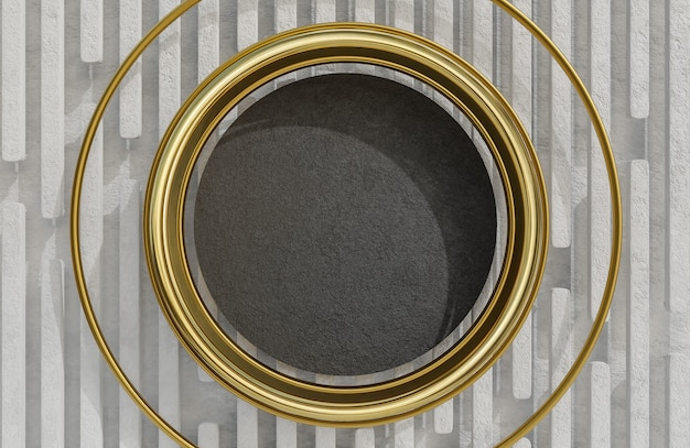 Mock up black stone plate and golden arch on white stone wall background.,3d model and illustration.
