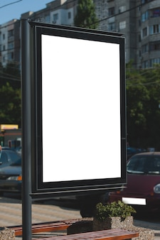 Mock up of blank billboard in the city. place for text, outdoor advertising, banner, poster or public information.