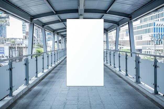 Mock up blank billboard white led screen vertical for advertising