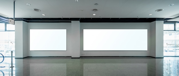 Mock up blank billboards on wall