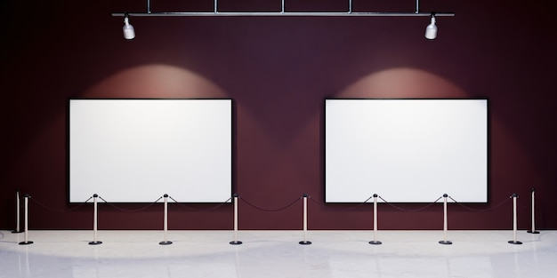 Mock-up of blank frames in a museum with spotlights illuminating them and security barrier