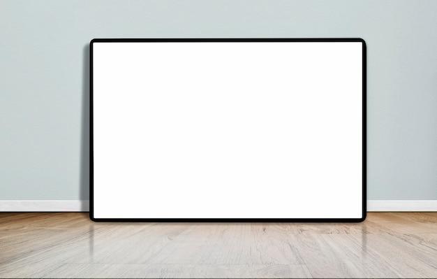 コンクリートの壁と空の部屋の木の床で空白の図枠をモックアップします。