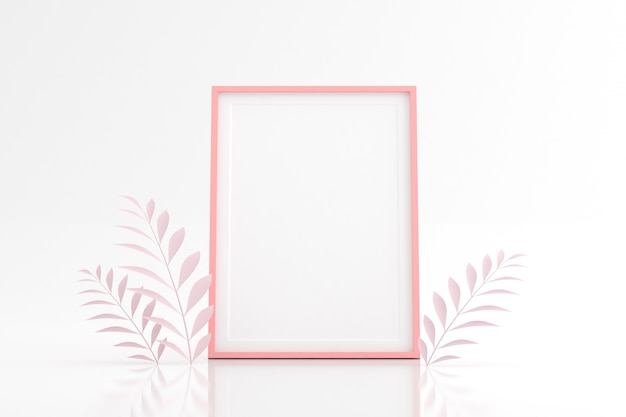 Mock up of blank picture frame with leaf on white space.