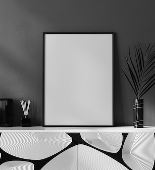 Mock up blank poster frame in black and white modern interior with stylish decoration, frame in luxury and contemporary interior, 3d rendering