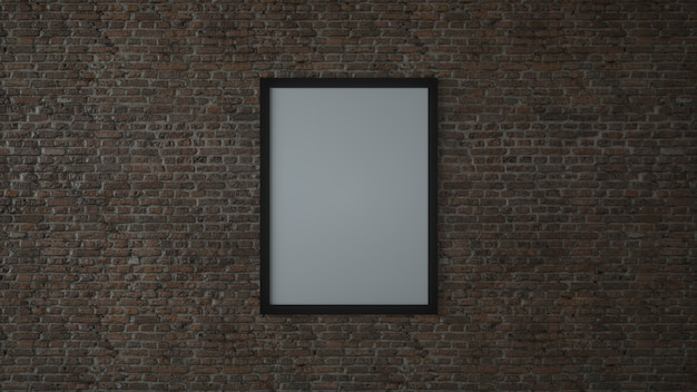 Mock up blank poster picture frame on brick wall. 3d illustration.