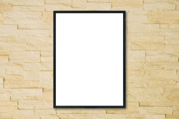Mock up blank poster picture frame on brick wall