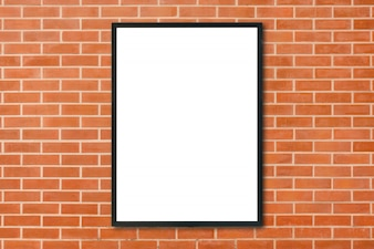 Mock up blank poster picture frame hanging on red brick wall background in room