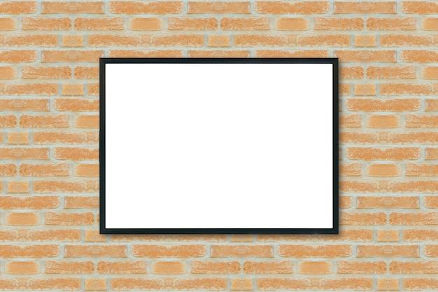 Макет пустой каркас плакат на кирпичной стене.