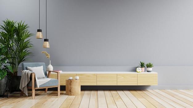 파란색 안락의자가 있는 현대적인 거실의 캐비닛을 비웃고 짙은 회색 벽 배경에 식물, 3d 렌더링