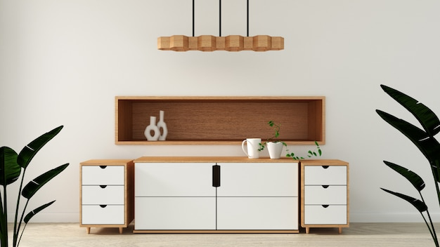 Mock up, cabinet in modern empty room, japanese minimal zen room designs
