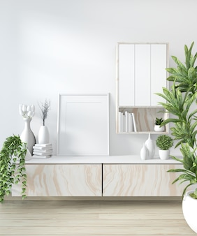 Mock up cabinet in modern white room
