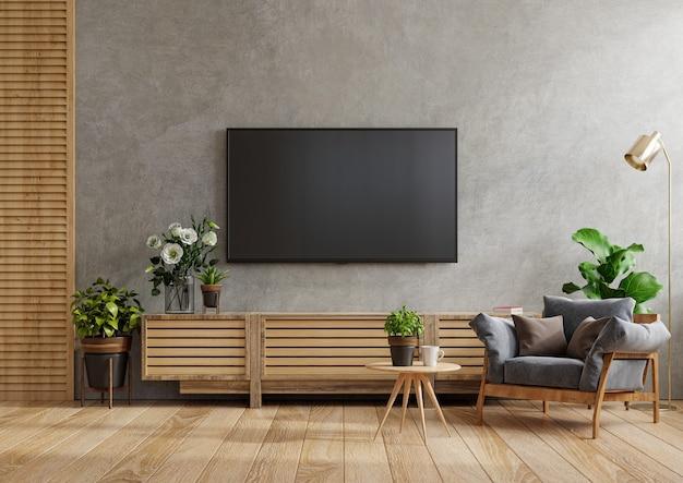 안락 의자와 테이블이있는 시멘트 방에 설치된 캐비닛 tv 벽을 모의, 3d 렌더링