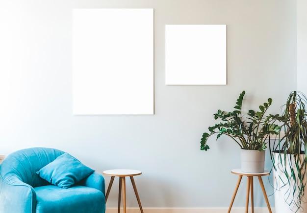 Макет холста белый пустой холст рамка на стене