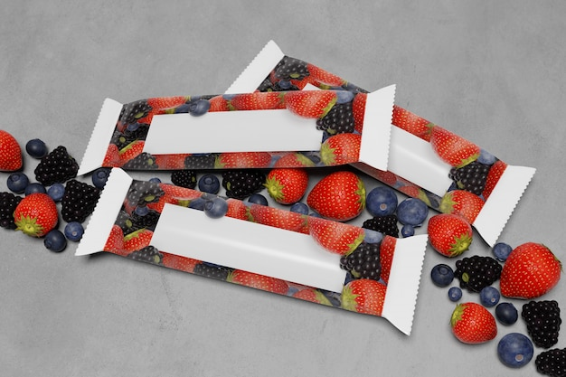 Mock up of a cereal bar packaging on concrete with red fruits  - 3d rendering