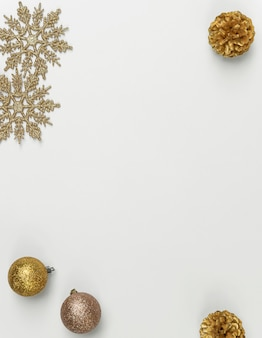 白の星の紙吹雪と装飾とスノーフレークのクリスマス組成をモックアップします。冬、。フラット横たわっていた、トップビュー、copyspace。