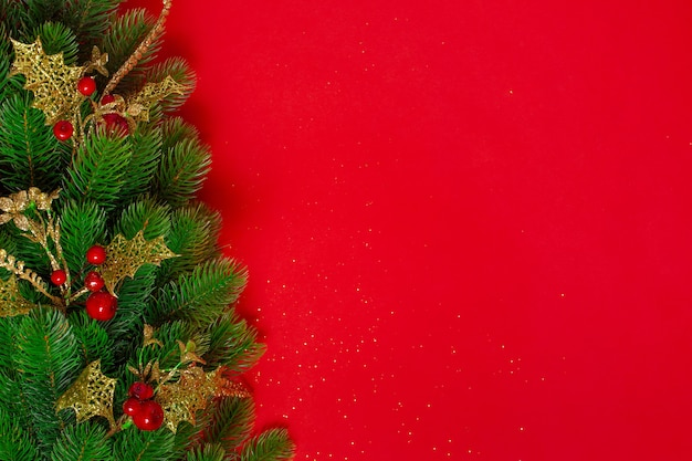 Mock up of a christmas tree with golden decor