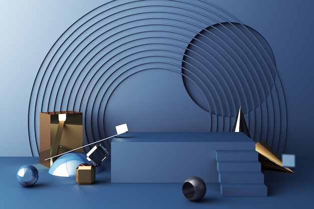 製品の青い色の表彰台と幾何学的形状の金とガラスのテクスチャのモックアップ構成