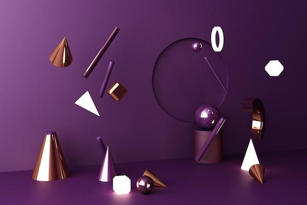 Макет композиции геометрической формы, текстуры золота и стекла с подиумом фиолетового цвета для продукта