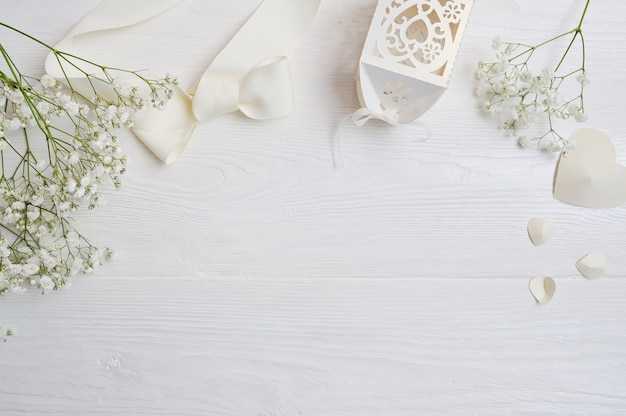 Mock up composition of white flowers rustic style