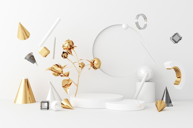 Mock up composition of white geometric shape gold and glass texture with gold plant flower and leaf ,podium for product design, 3d rendering, 3d illustration