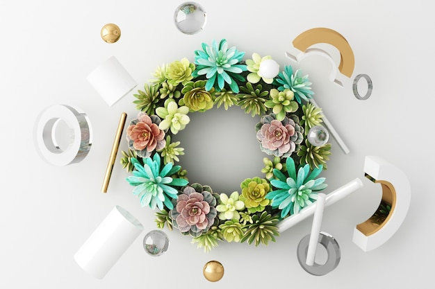 Mock up composition of white geometric shape gold and glass texture with plant flower and leaf ,podium for product design, 3d rendering, 3d illustration
