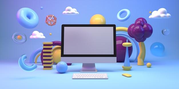 컴퓨터와 기하학 도형으로 구성을 모의
