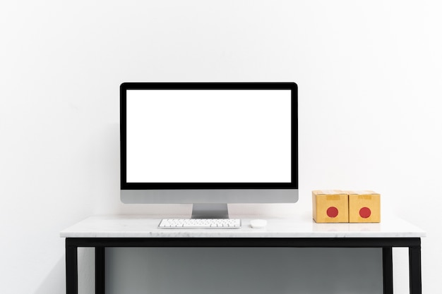 Mock up computer and desktop for your advertise