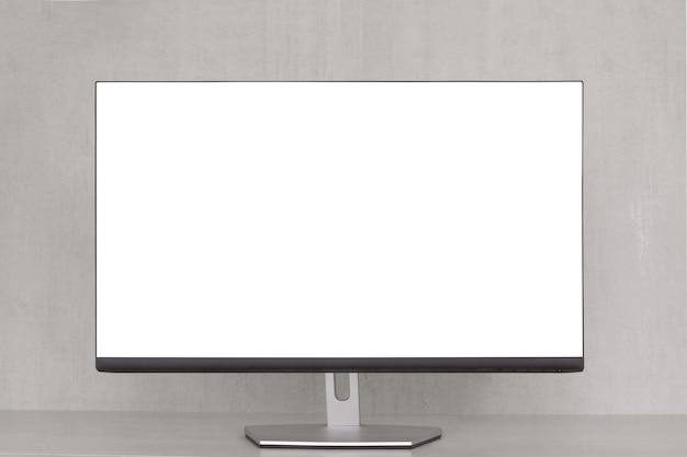 회색 배경에 흰색 화면이 있는 컴퓨터 모니터 모의