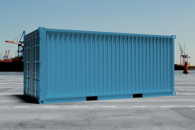 Mock up of a container on a dock