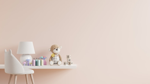 Макет стены кремового цвета в детской на деревянной полке. 3d визуализация
