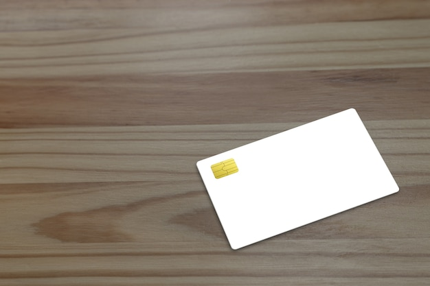 Mock up credit card on  the table.