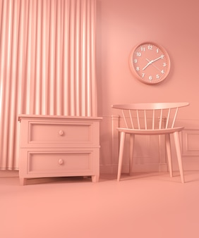Mock up decoration color living coral style