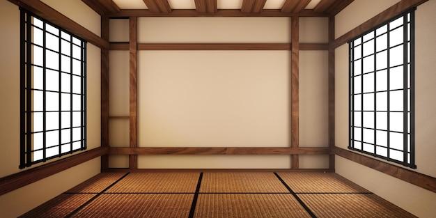 モックアップ、具体的には日本風のデザイン、空き部屋。 3dレンダリング