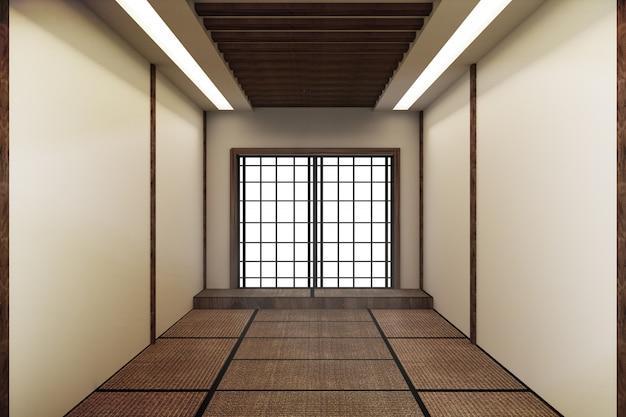모의, 일본식으로 특별히 설계된 빈 방. 3d 렌더링