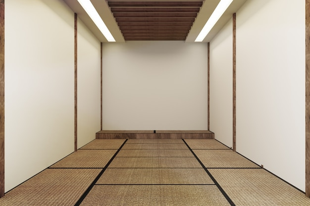 Mock up, designed specifically in japanese style, empty room. 3d rendering