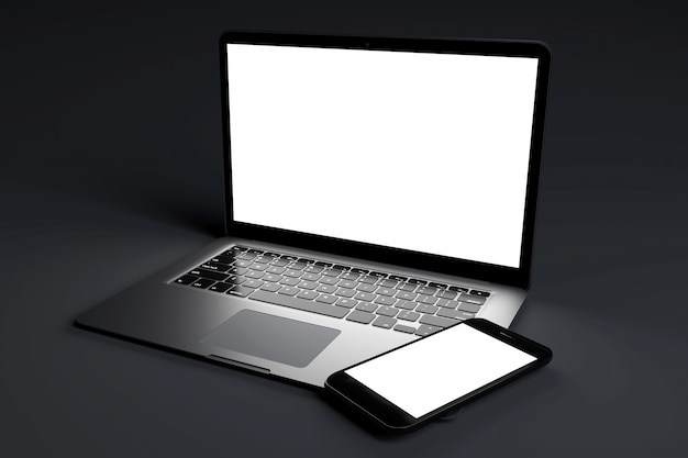 Mock up of devices on a dark - 3d rendering