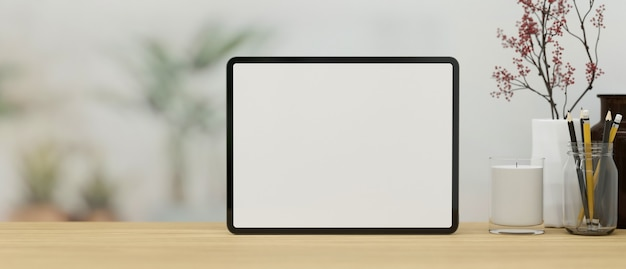 Mock up of digital tablet blank screen template stand on wooden tabletop with spac 3d rendering
