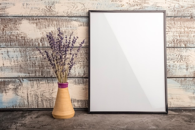 Mock up of an empty frame poster on a wall of wooden boards. a bunch of lavender in a vase