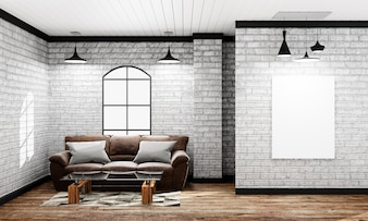 Mock up - empty interior in a loft style with sofa and lamp and frame. 3d