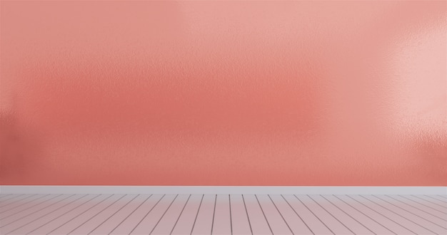 Mock up in empty interior, room coral color wall, 3d rendering
