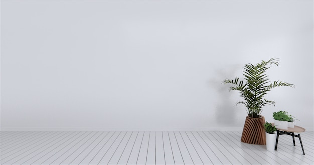 Mock up empty room white wall. 3d rendering